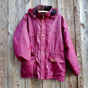 K-Way Vintage Burgundy Lined Hooded Jacket Red Plaid Corduroy